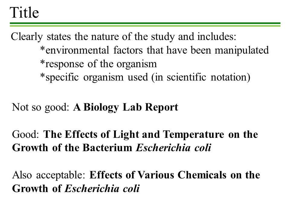Title Clearly states the nature of the study and includes: