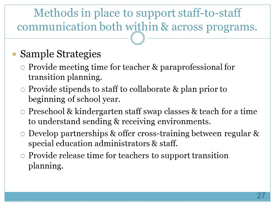 Methods in place to support staff-to-staff communication both within & across programs.
