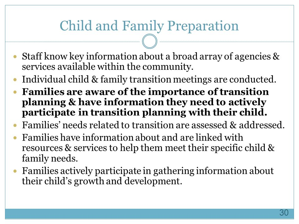 Child and Family Preparation