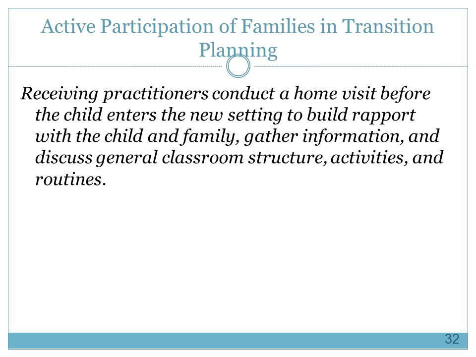 Active Participation of Families in Transition Planning