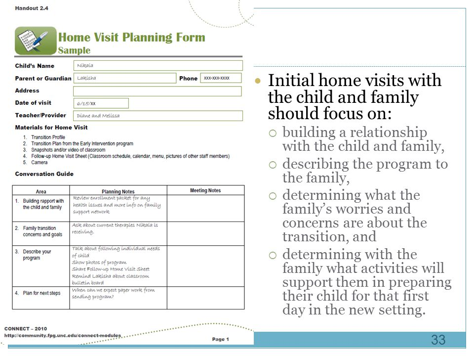 Initial home visits with the child and family should focus on: