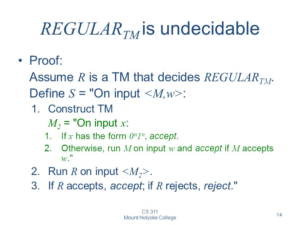REGULARTM is undecidable