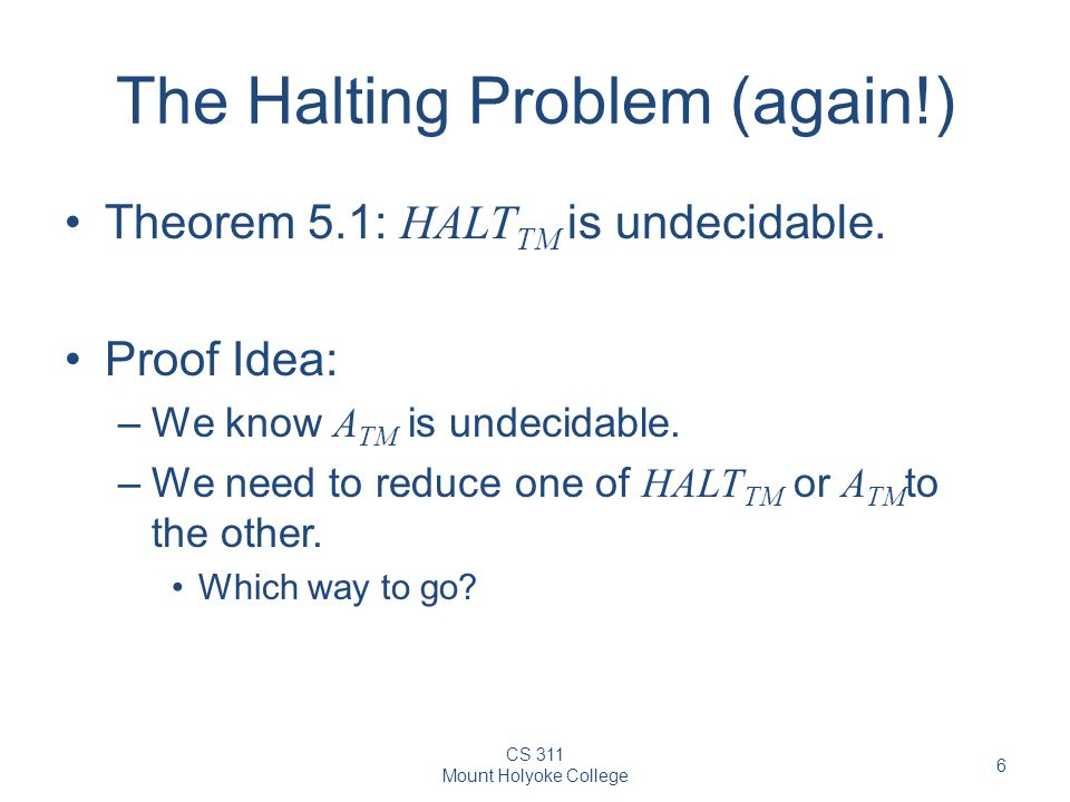 The Halting Problem (again!)