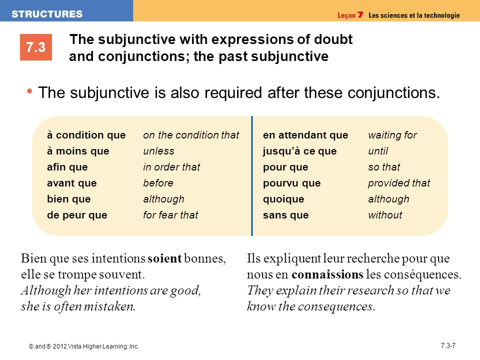 The subjunctive is also required after these conjunctions.