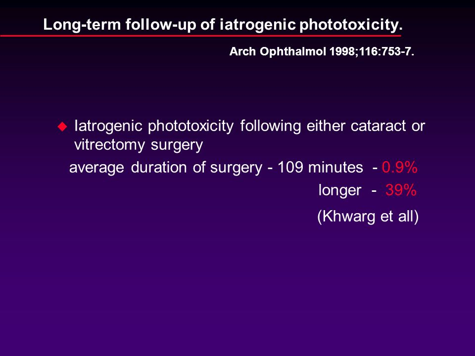Long-term follow-up of iatrogenic phototoxicity.