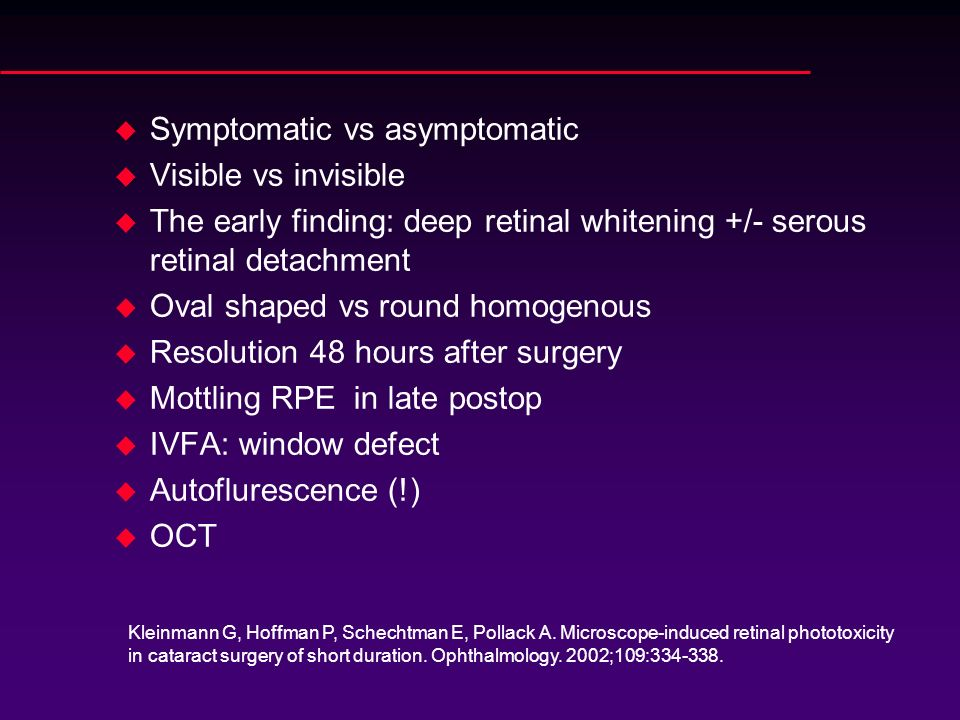 Symptomatic vs asymptomatic Visible vs invisible