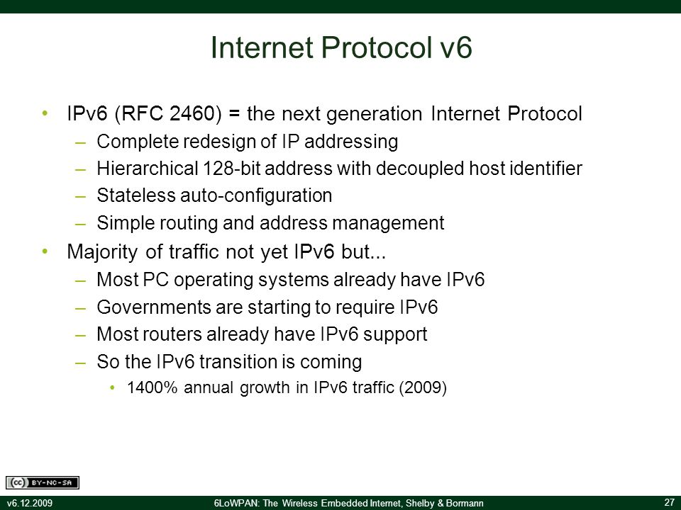 6LoWPAN: The Wireless Embedded Internet Companion Lecture