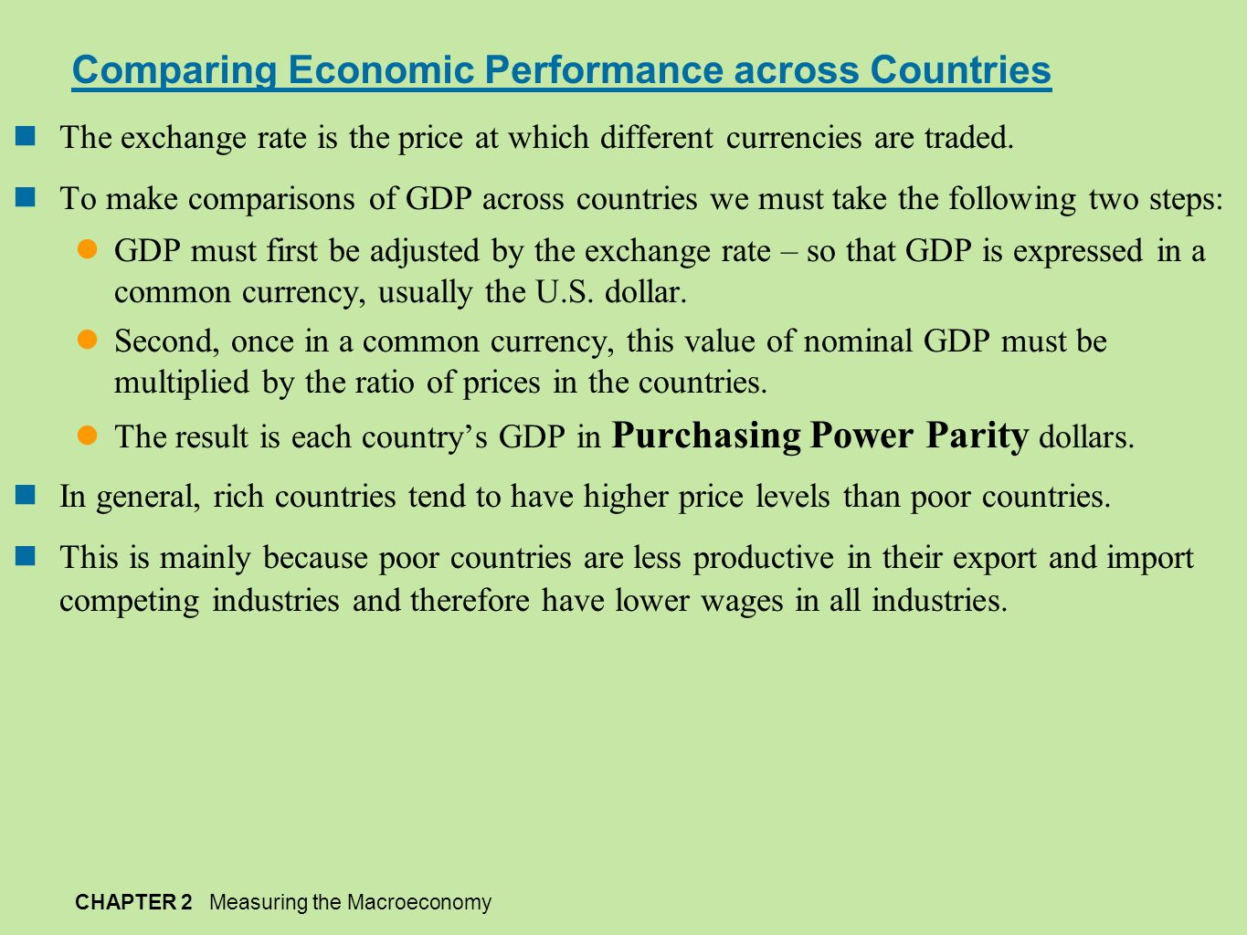 Comparing Economic Performance across Countries