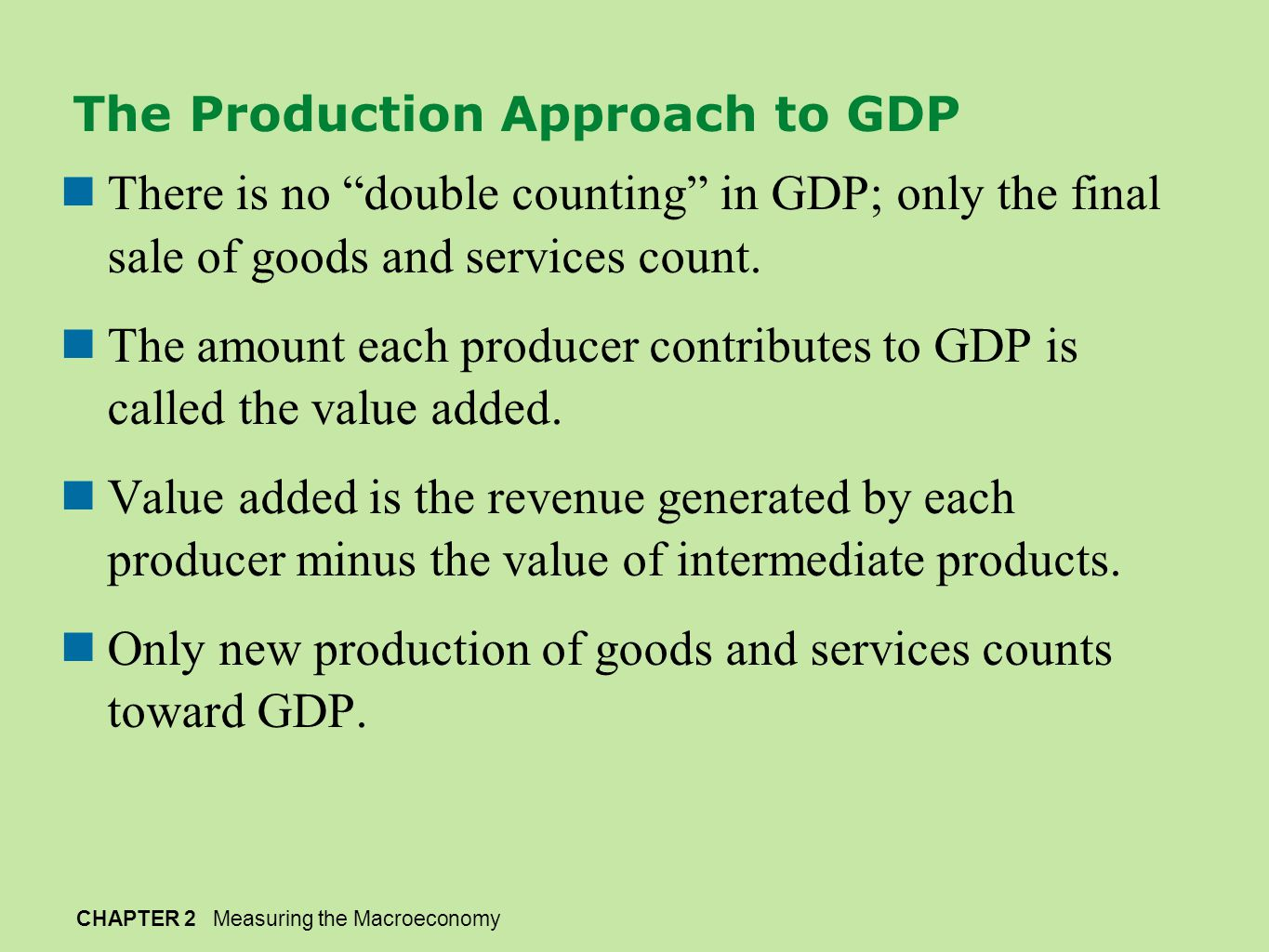 The Production Approach to GDP
