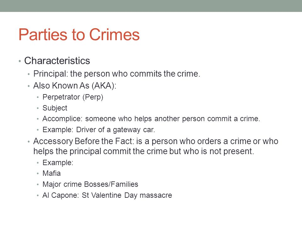 Parties to Crimes Characteristics