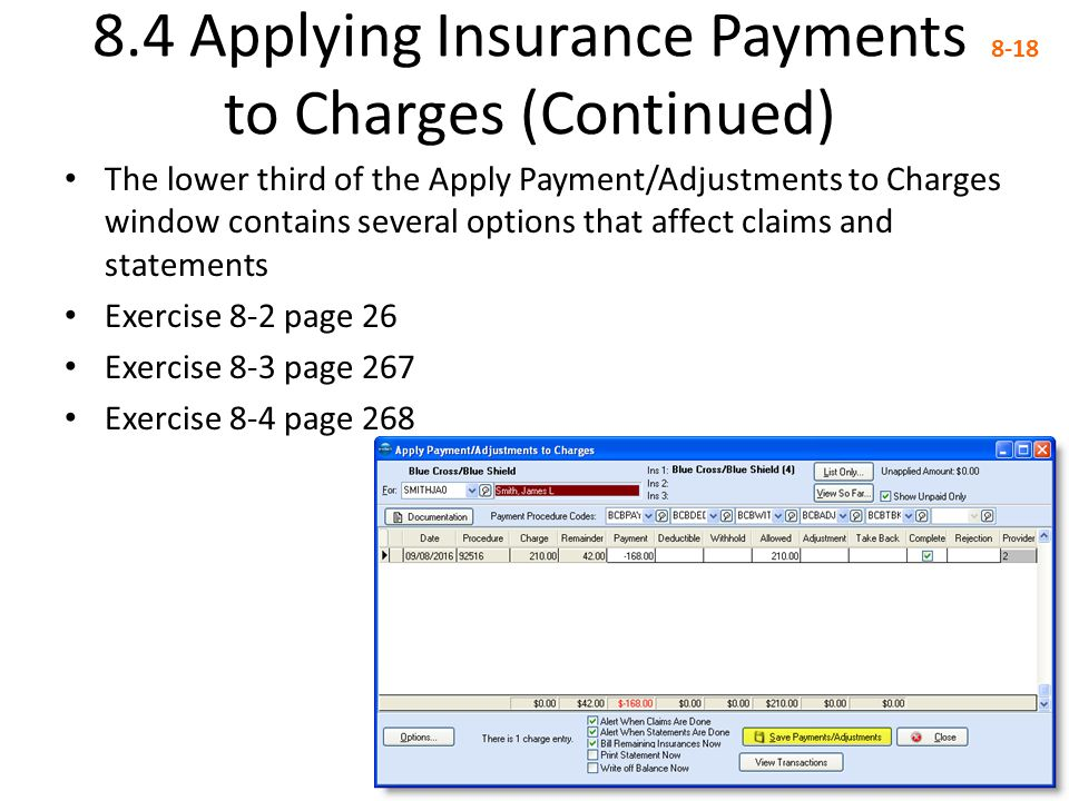 8.4 Applying Insurance Payments to Charges (Continued)