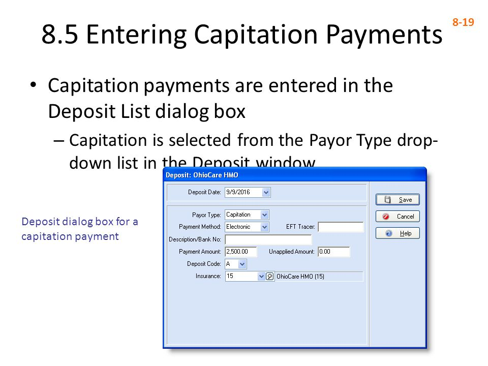 8.5 Entering Capitation Payments