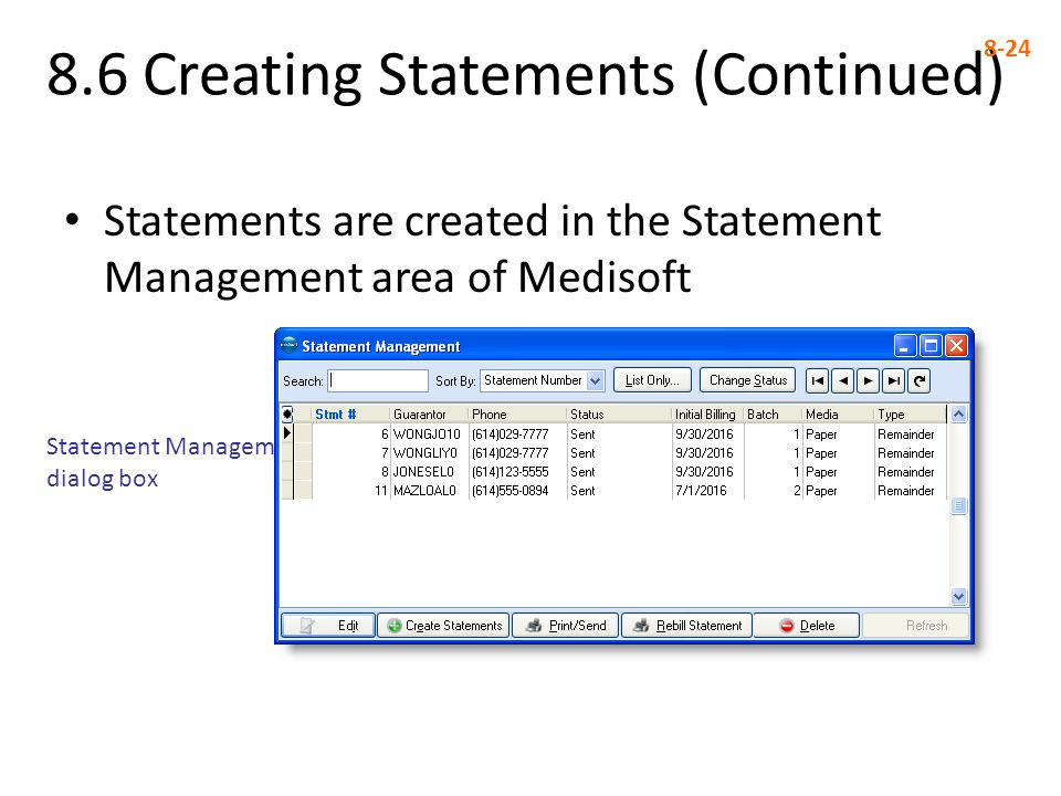 8.6 Creating Statements (Continued)