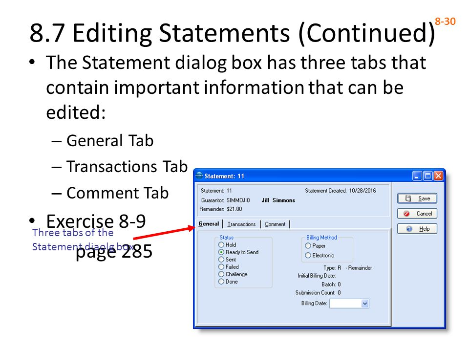 8.7 Editing Statements (Continued)