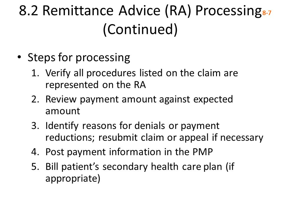 8.2 Remittance Advice (RA) Processing (Continued)