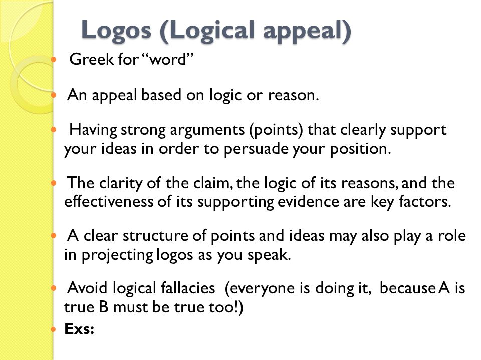 Logos (Logical appeal)