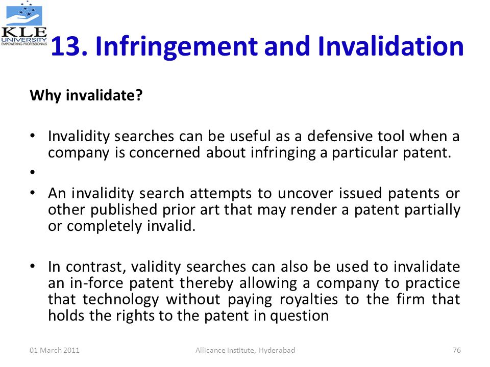 Invalidating a patent with prior arts