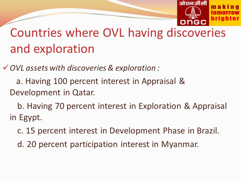 Countries where OVL having discoveries and exploration