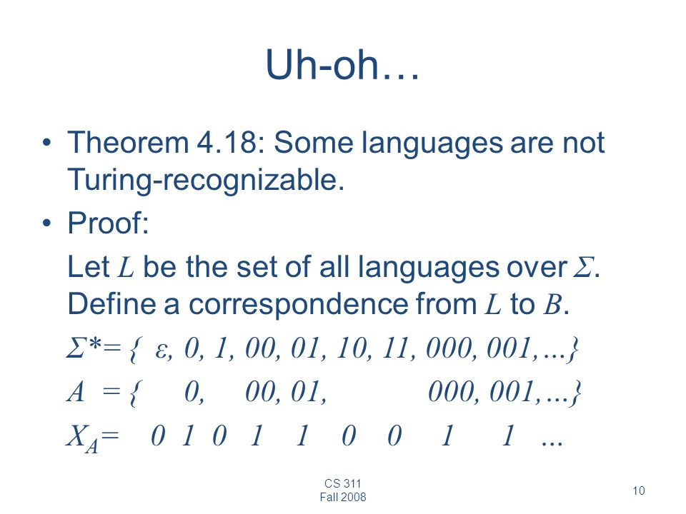 Uh-oh… Theorem 4.18: Some languages are not Turing-recognizable.