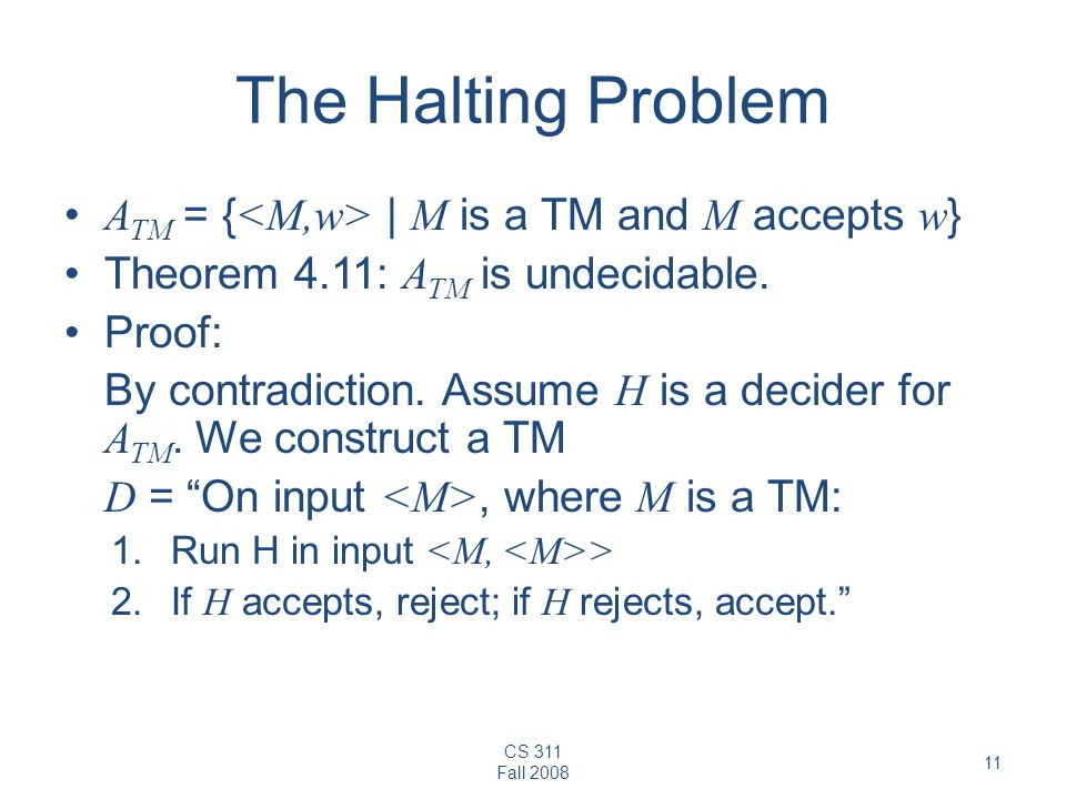 The Halting Problem ATM = {<M,w> | M is a TM and M accepts w}