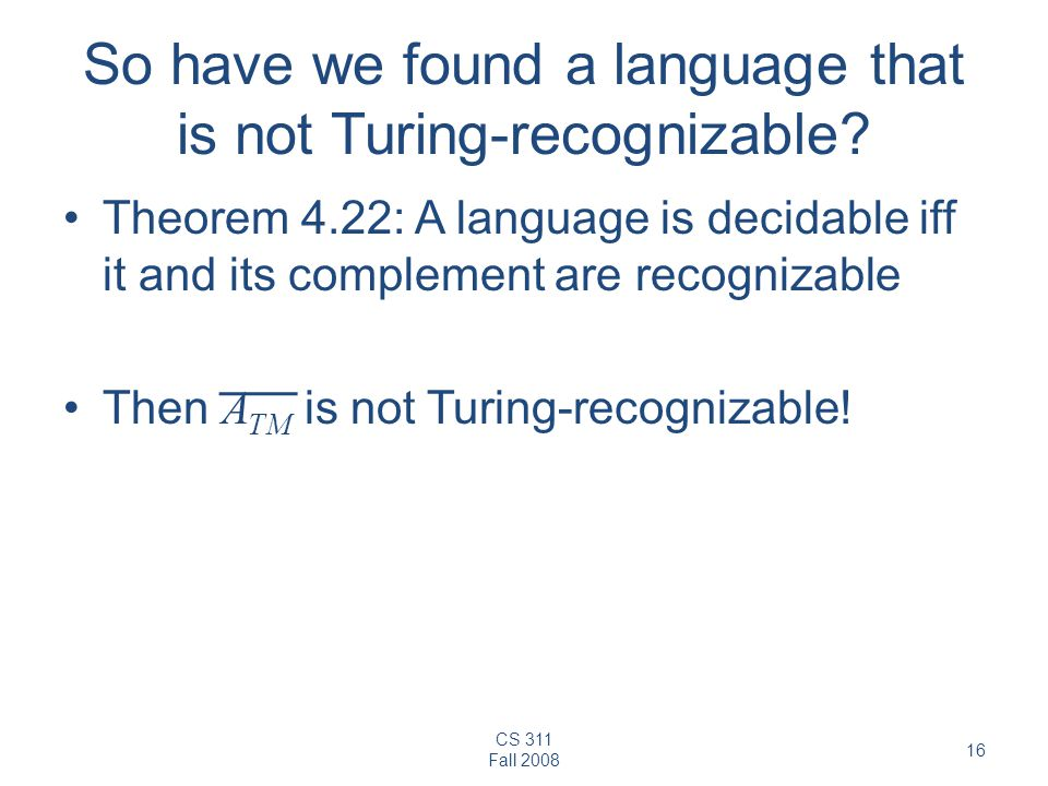 So have we found a language that is not Turing-recognizable