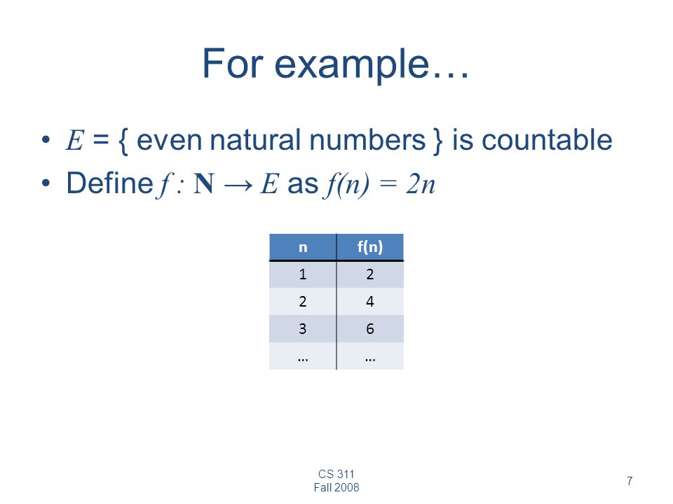For example… E = { even natural numbers } is countable