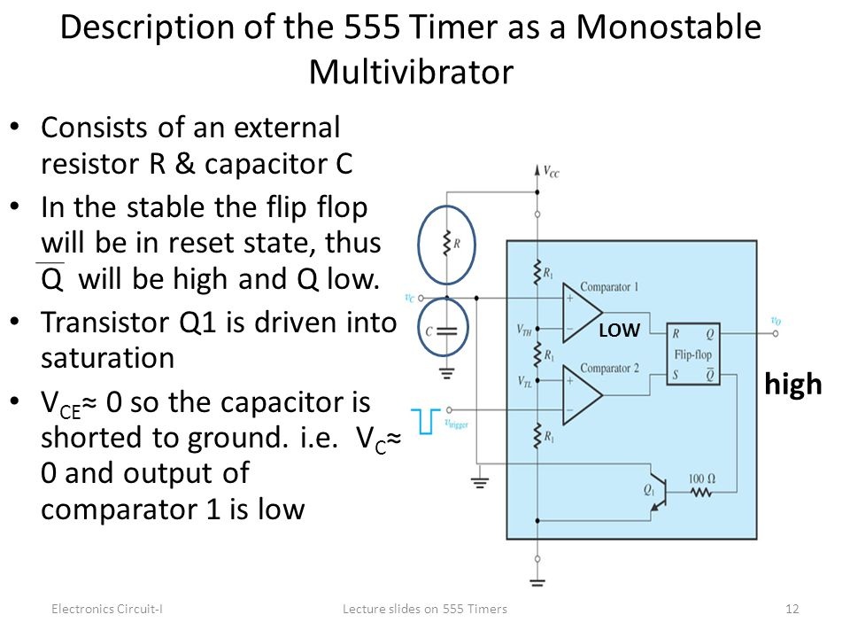 Description of the 555 Timer as a Monostable Multivibrator