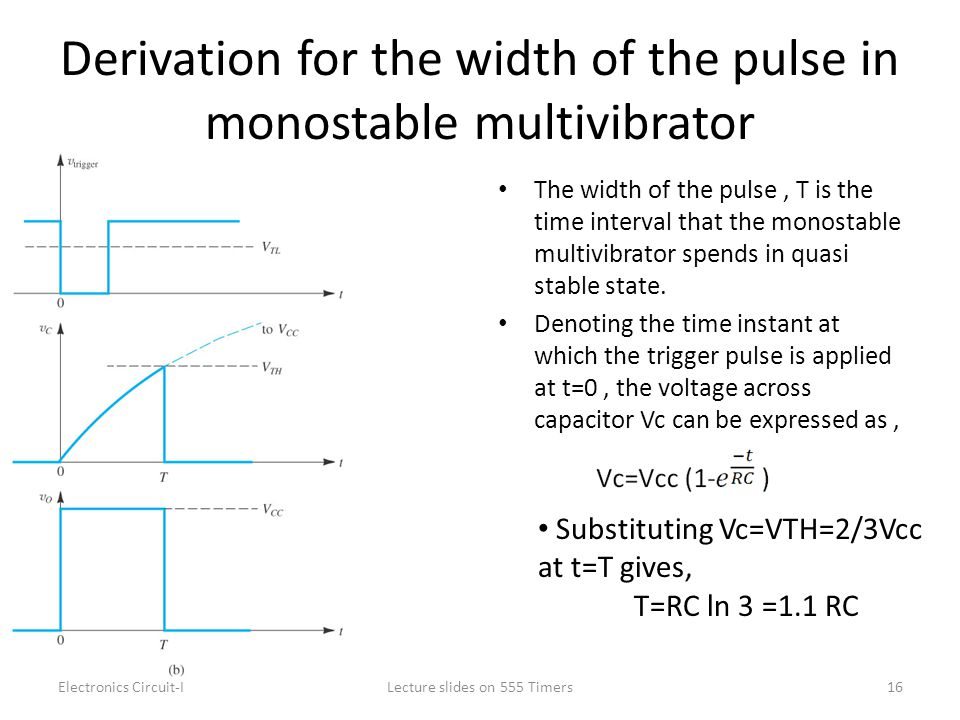 Derivation for the width of the pulse in monostable multivibrator