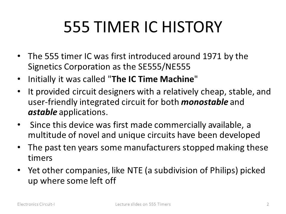 Lecture slides on 555 Timers