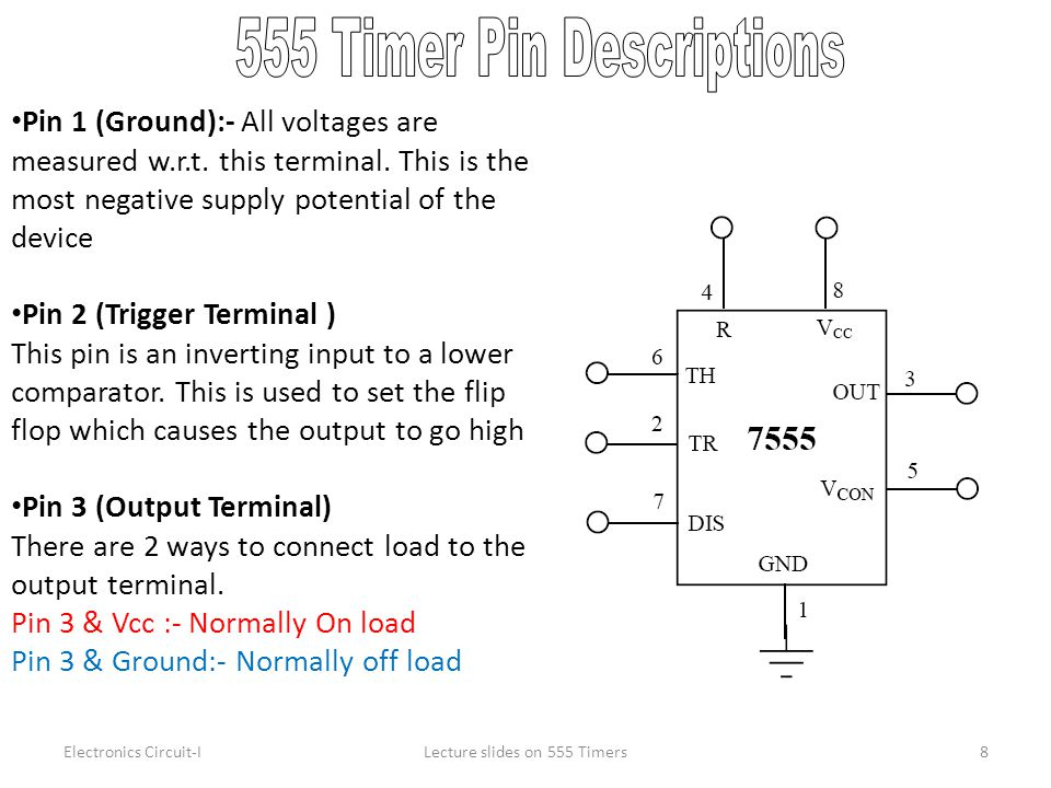 555 Timer Pin Descriptions