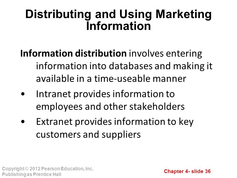 Distributing and Using Marketing Information