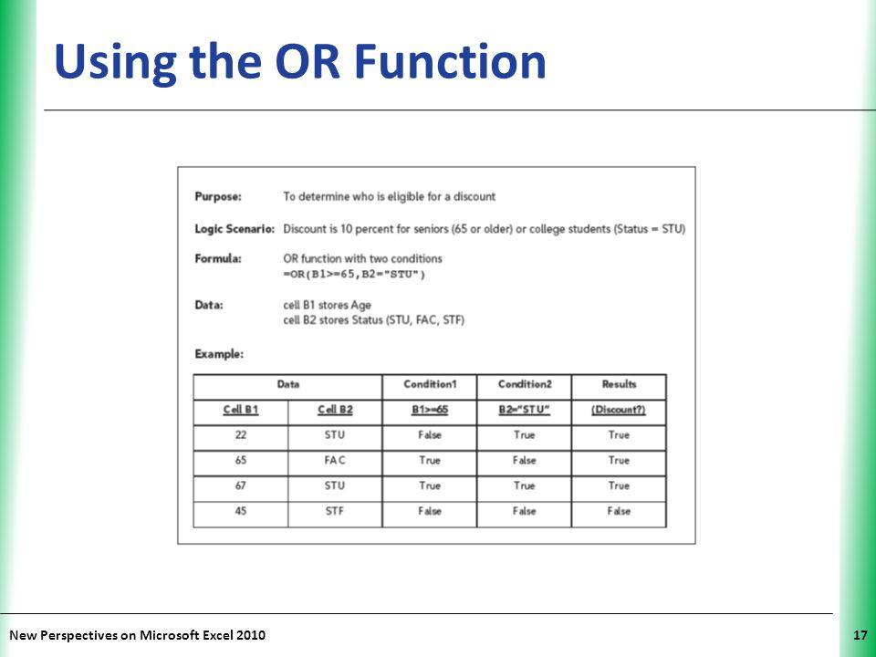 Using the OR Function New Perspectives on Microsoft Excel 2010