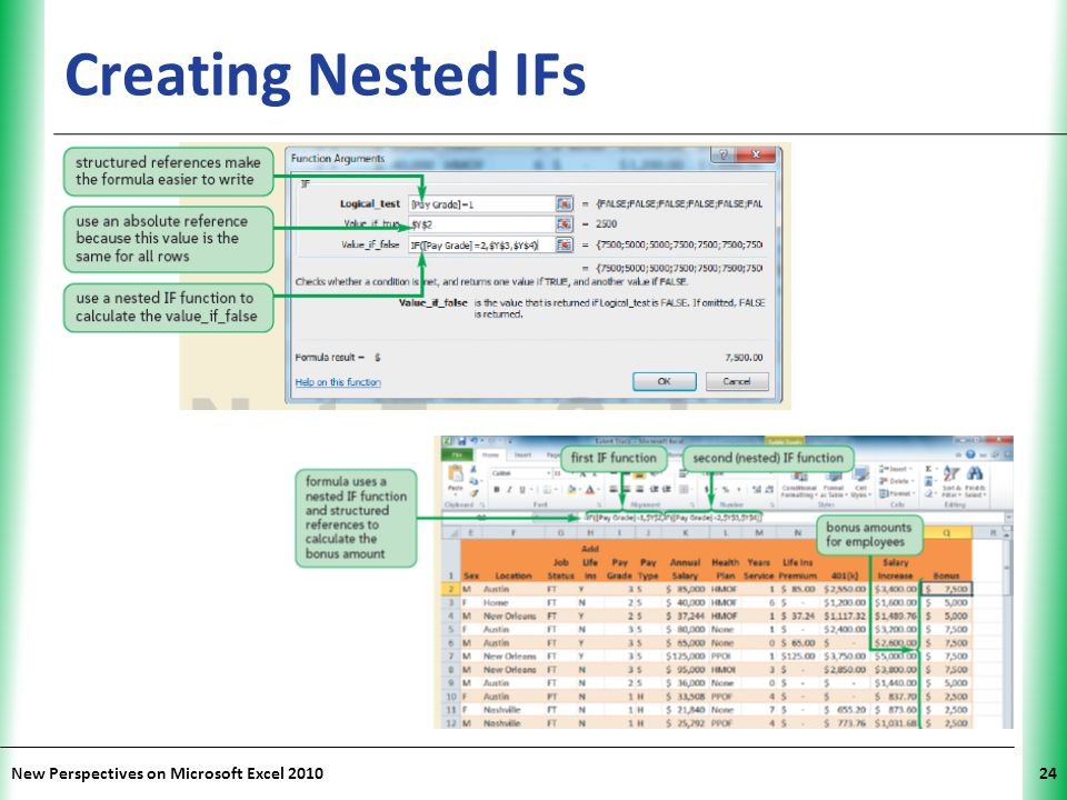 Creating Nested IFs New Perspectives on Microsoft Excel 2010