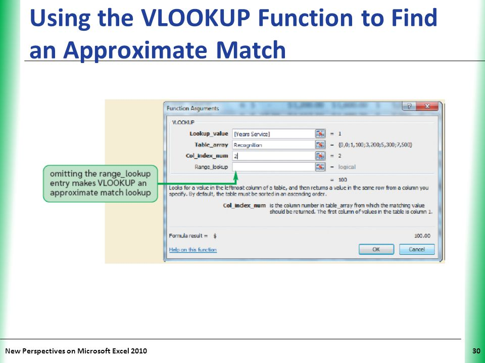 Using the VLOOKUP Function to Find an Approximate Match