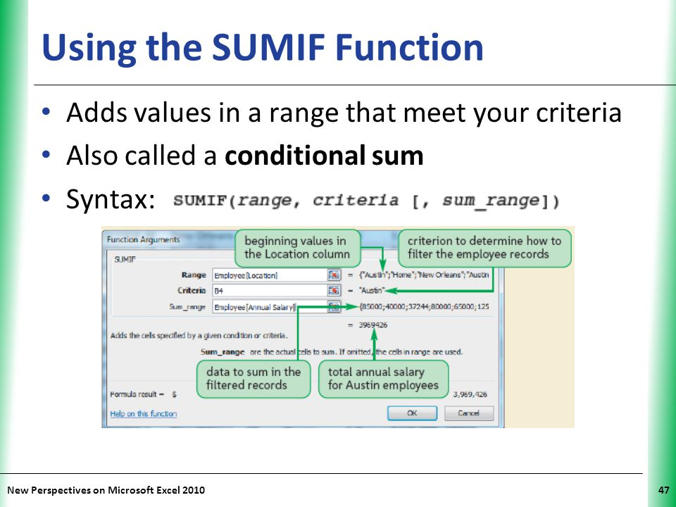 Using the SUMIF Function