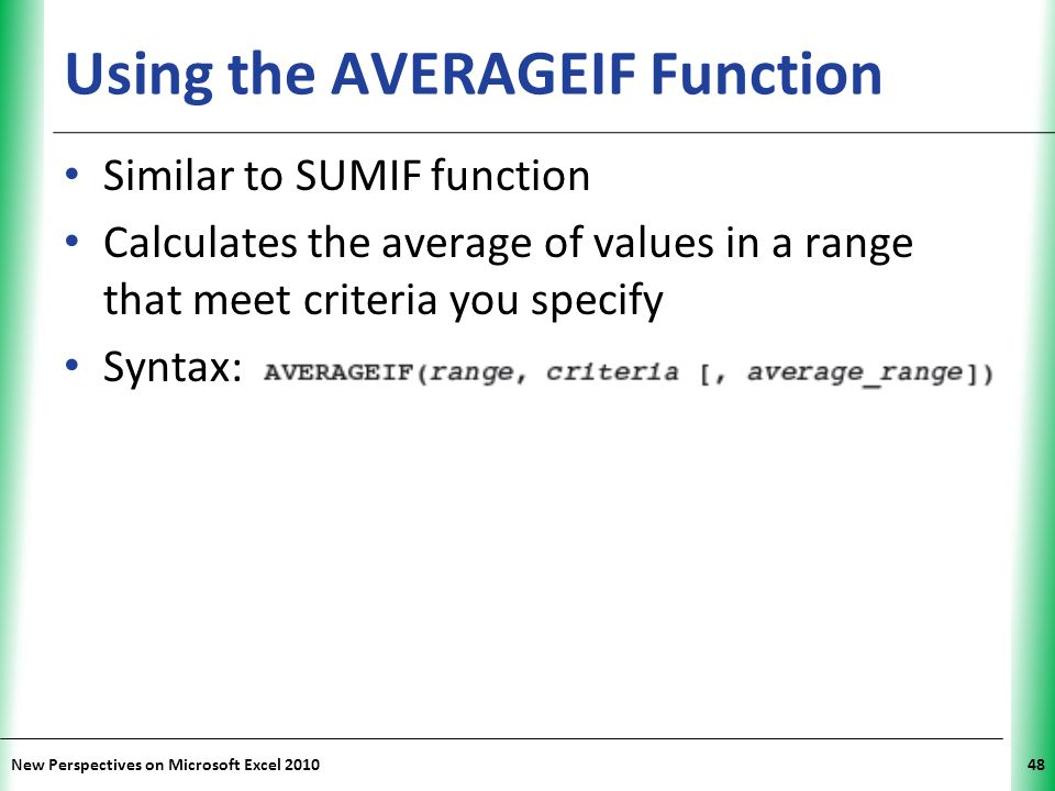 Using the AVERAGEIF Function