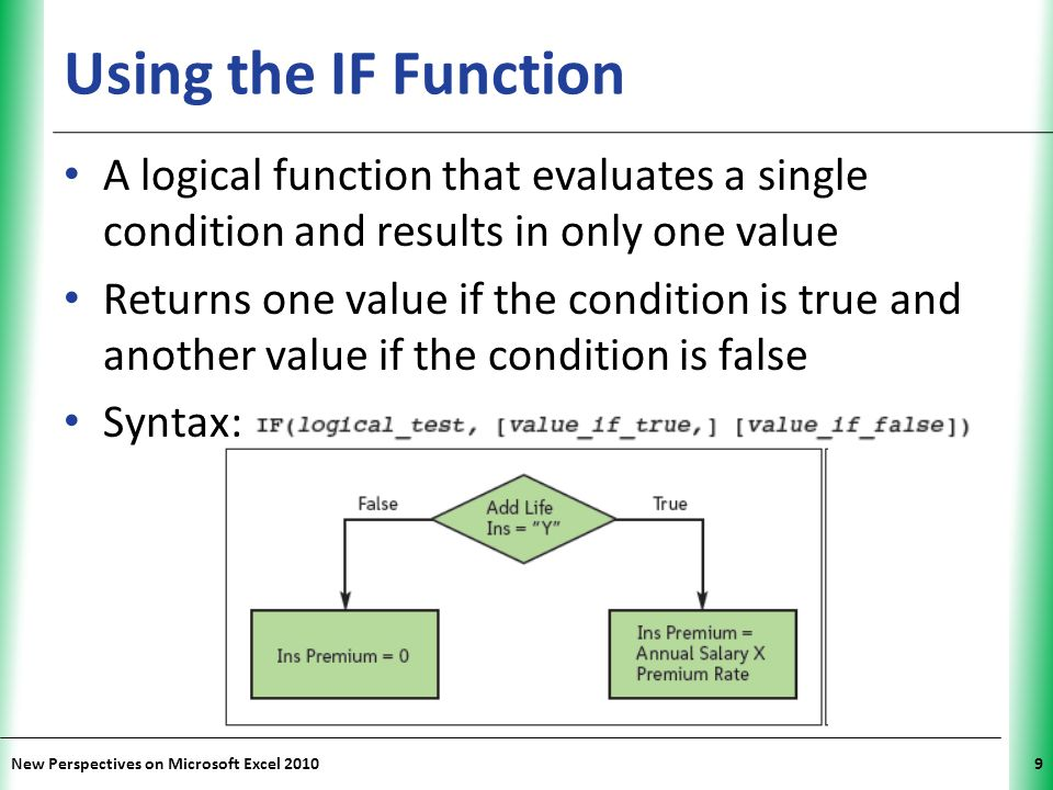 Using the IF Function A logical function that evaluates a single condition and results in only one value.
