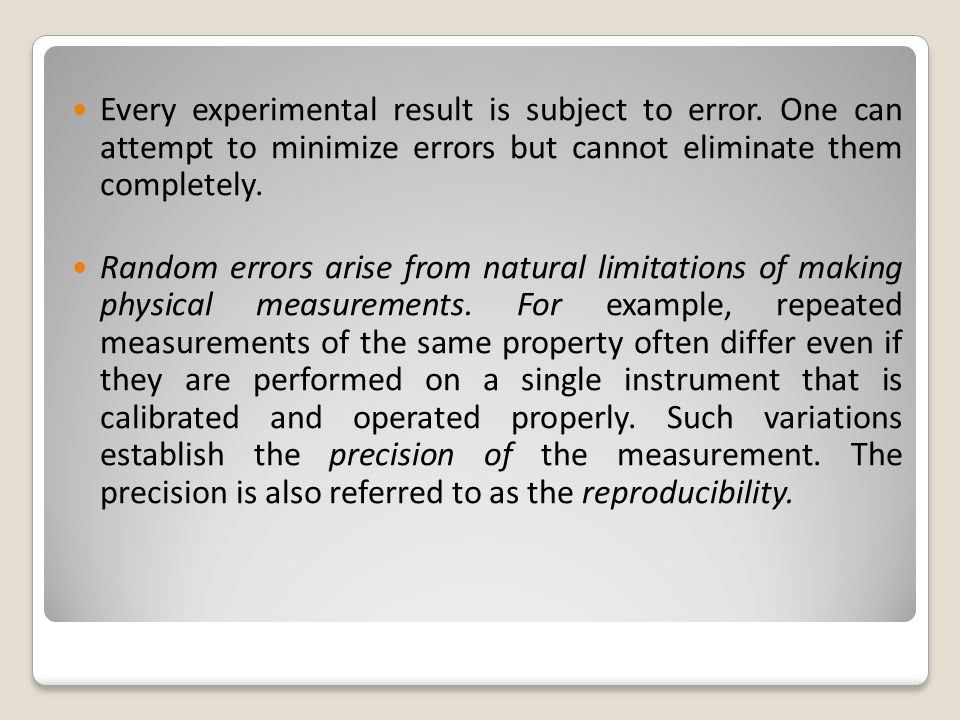 Every experimental result is subject to error