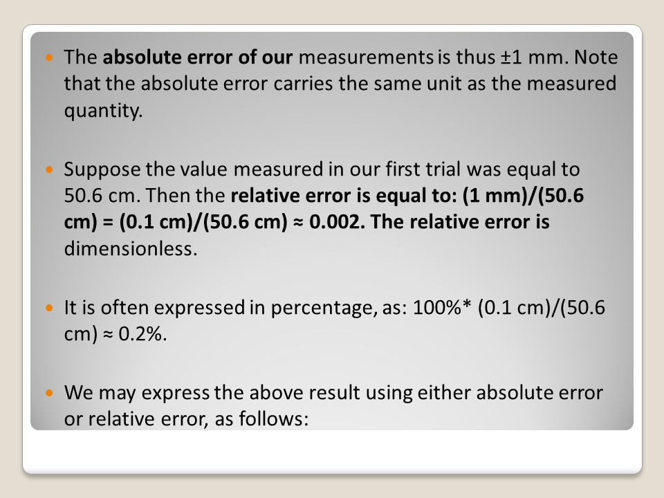 The absolute error of our measurements is thus ±1 mm