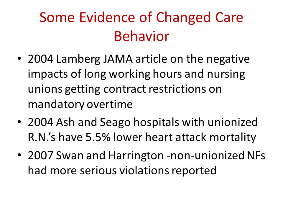 Some Evidence of Changed Care Behavior