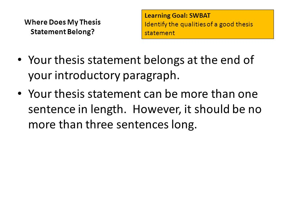 Thesis statement more than one sentence air guitar essays on art