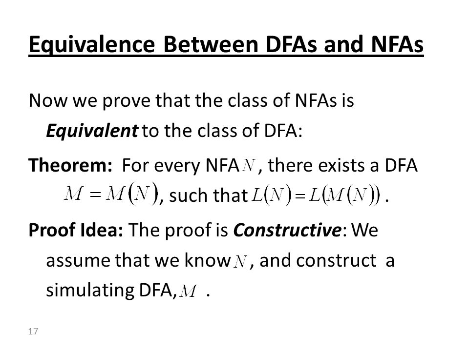 Equivalence Between DFAs and NFAs