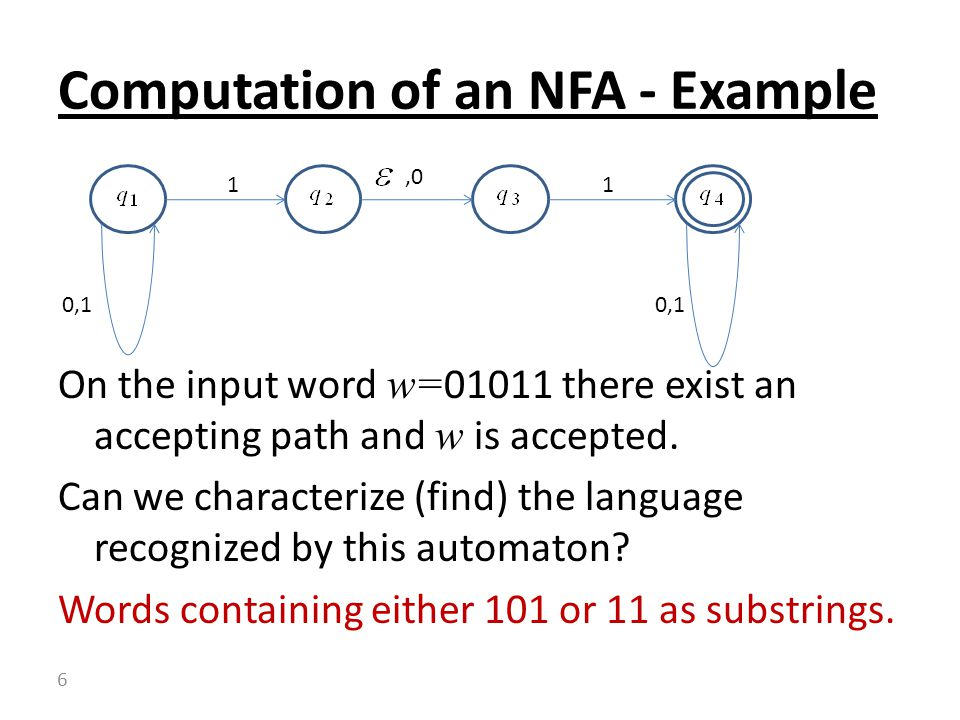 Computation of an NFA - Example