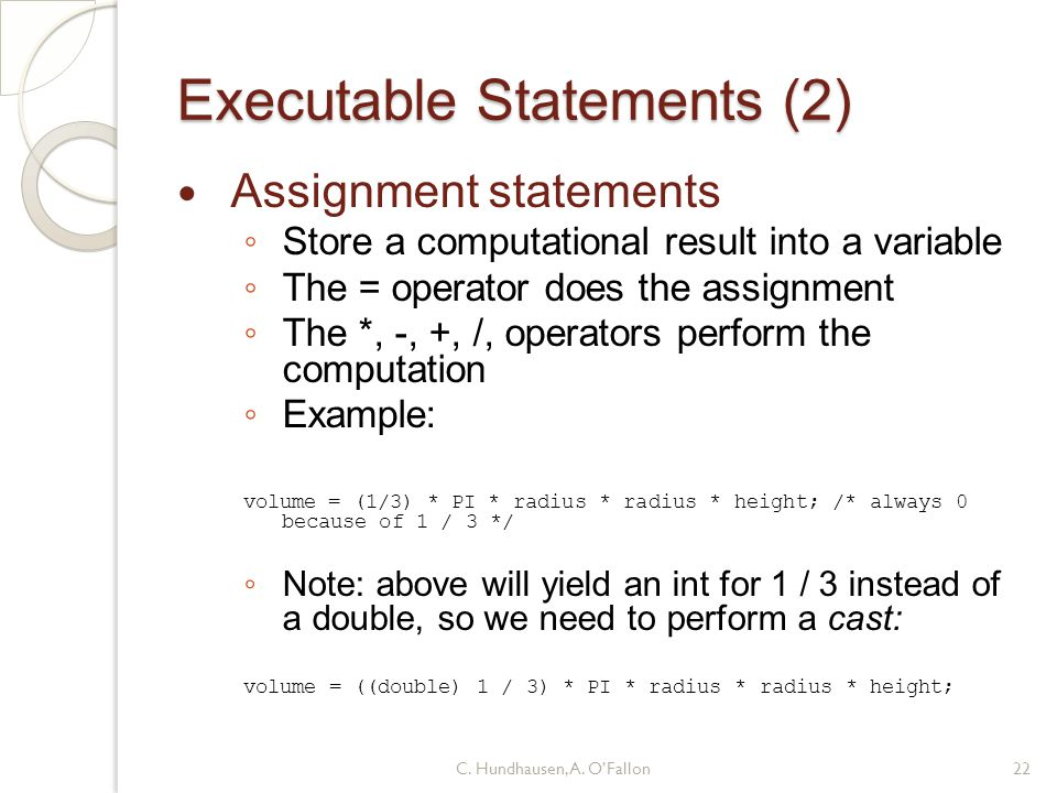 Executable Statements (2)