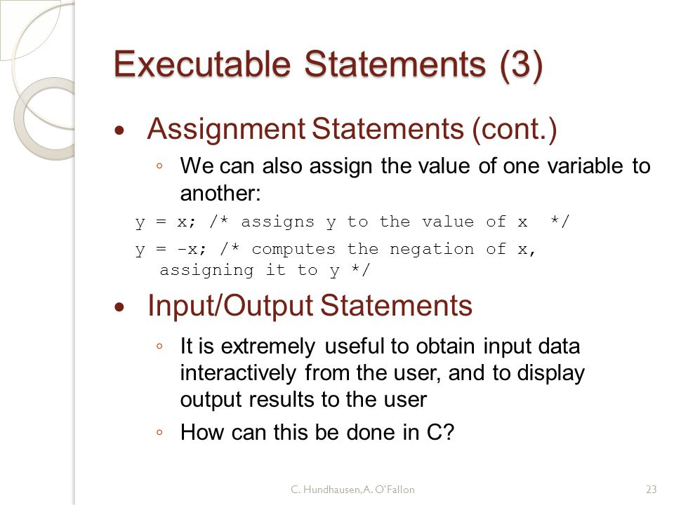 Executable Statements (3)