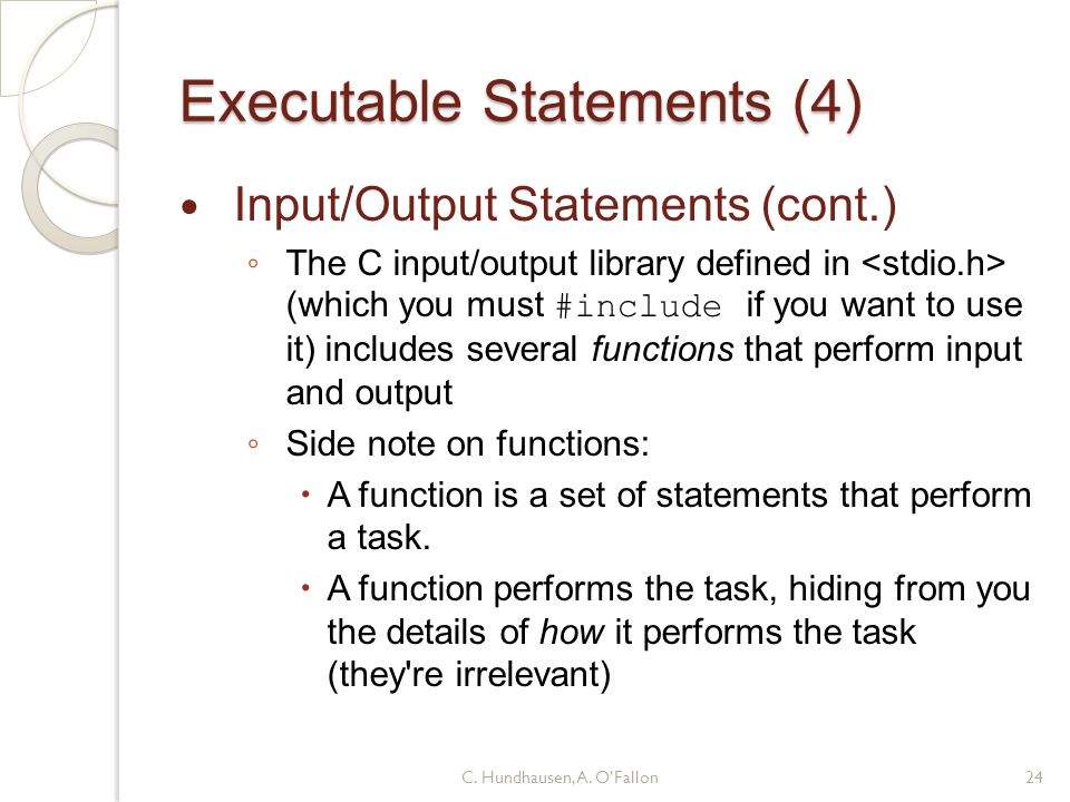 Executable Statements (4)