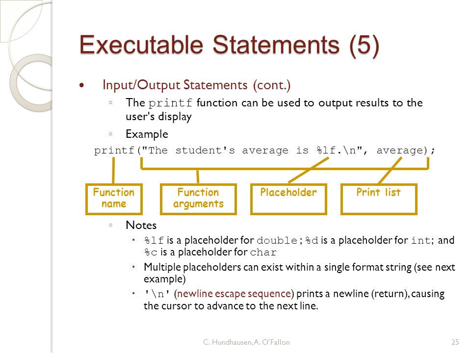 Executable Statements (5)