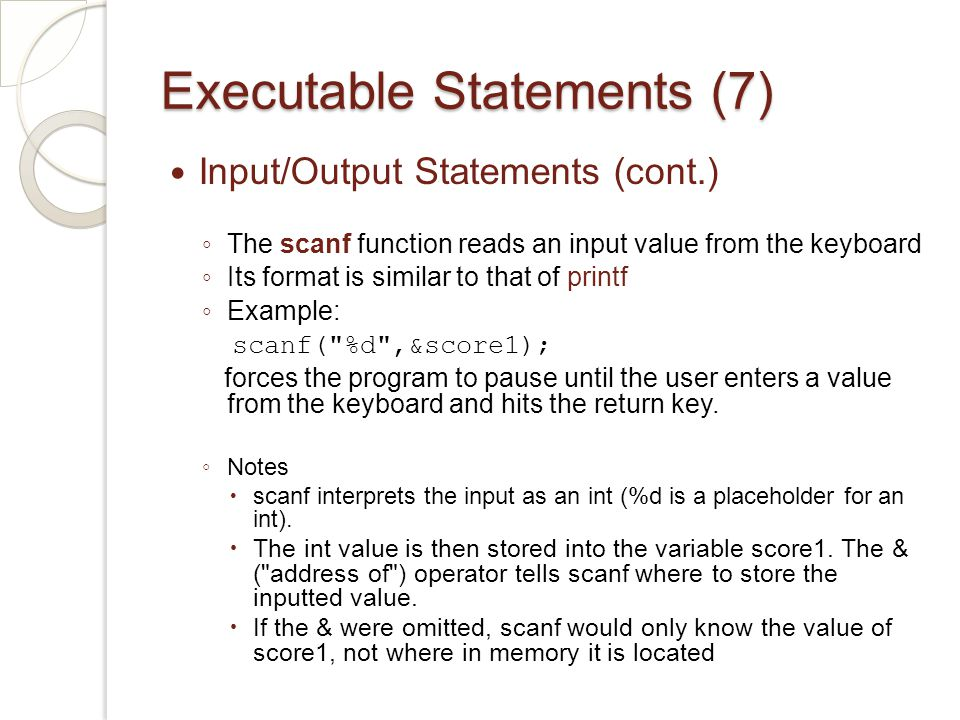 Executable Statements (7)