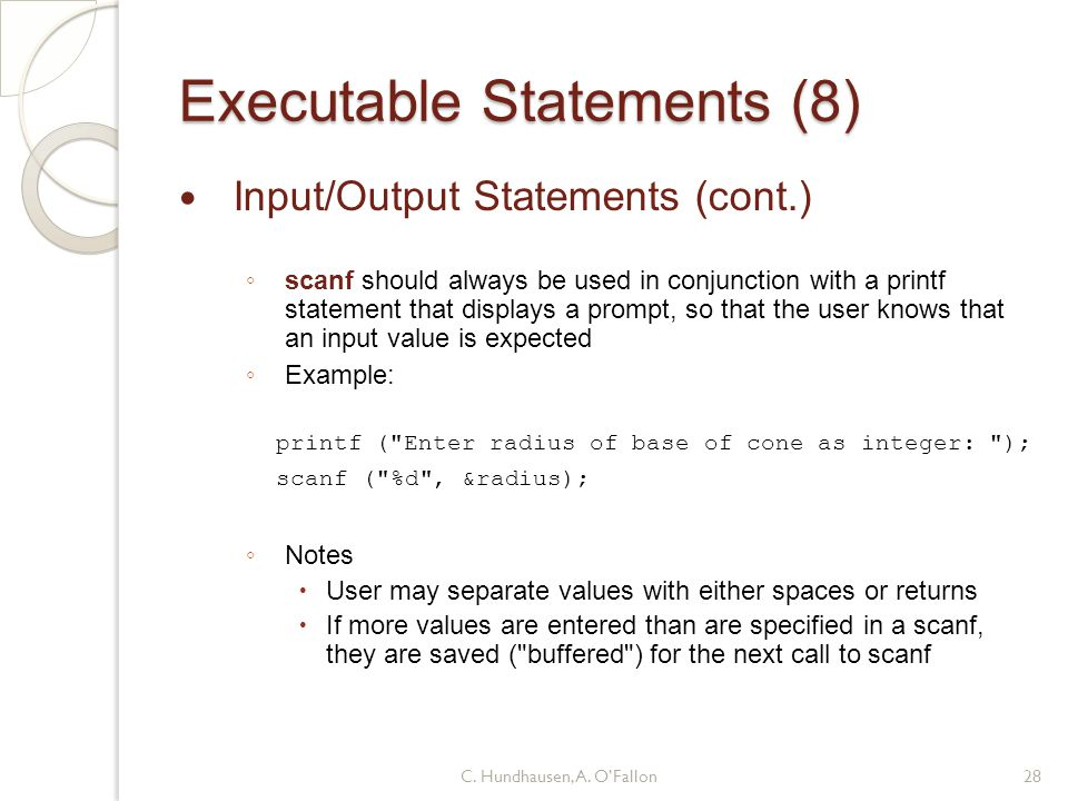 Executable Statements (8)