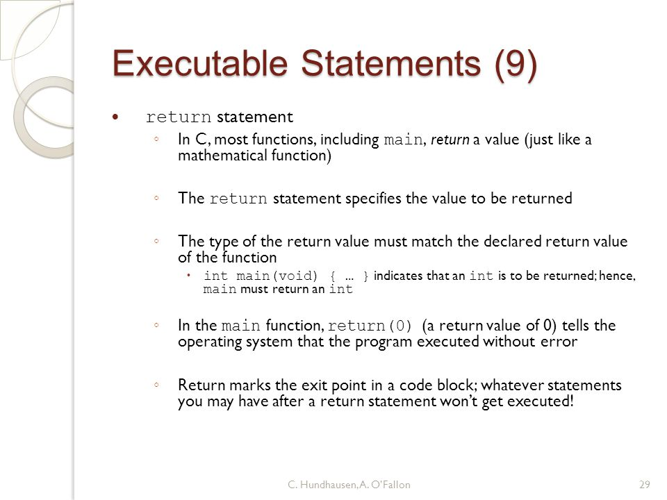Executable Statements (9)